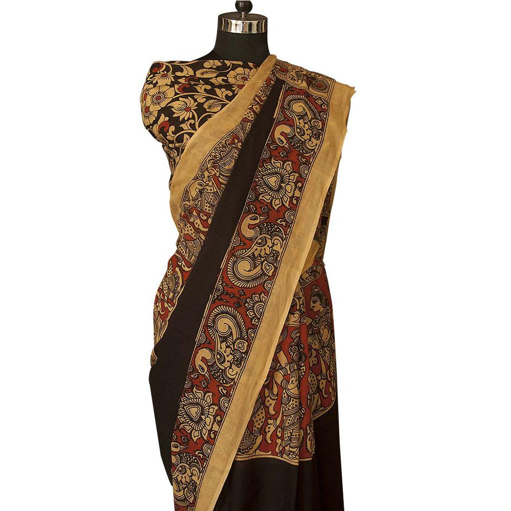 66252ce4ee108 Hand painted Kalamkari saree - Art of tribal India